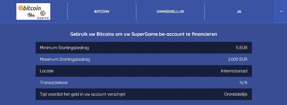 Bitcoin op Supergame online casino