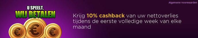 10% cashback op jackpotparty.be