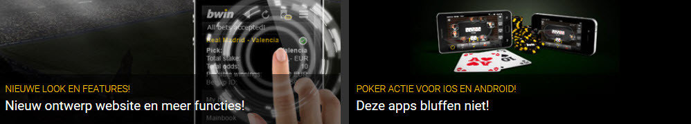 bwin mobile via iOS of Android