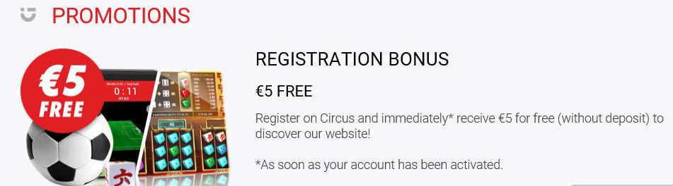 Circus free registration bonus