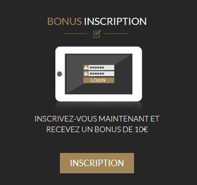 bonus d'inscription gratuit de 10 €